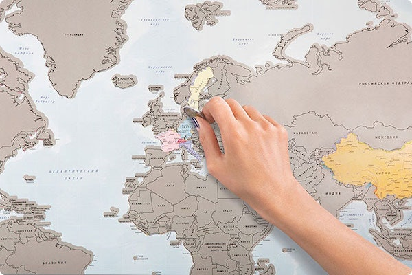 This world map lets you scratch off all of the places youve been if youve been wondering what to do with that giant blank space on your wall this could be pretty useful gumiabroncs Image collections