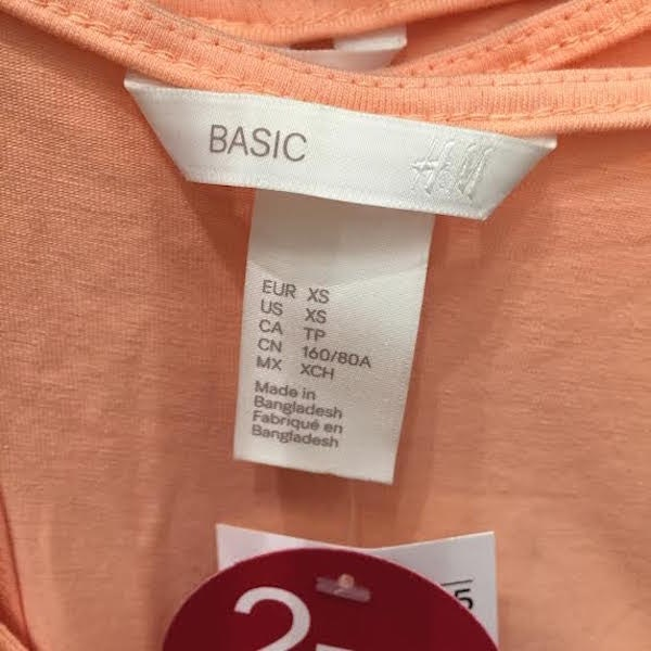 It is a photo of Critical Label of Graded Goods H&m Jacket