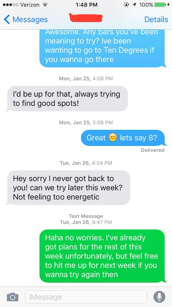 Day after hookup text — 10
