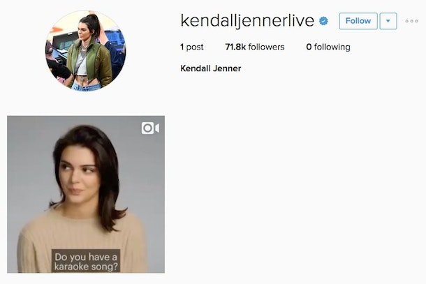 A New Kendall Jenner Live Instagram Account Is Verified