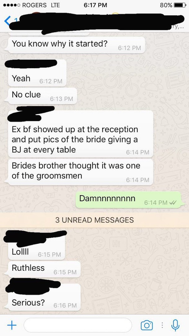 Guy Brings Photos Of Ex Giving A Blowjob To Her Wedding Reception