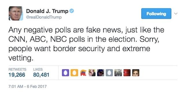 News Twitter: Trump Calls 'Negative' Polls 'Fake News' On Twitter
