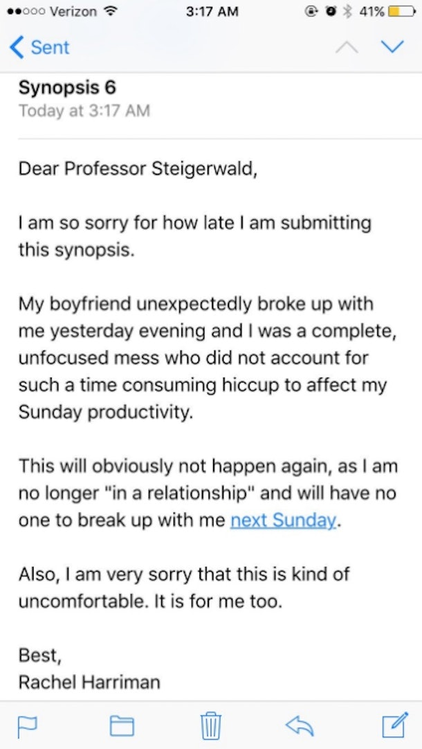 excuse letter for being late professor has best reply for breakup as a late excuse 22362 | girl s school excuse letter about her breakup 2