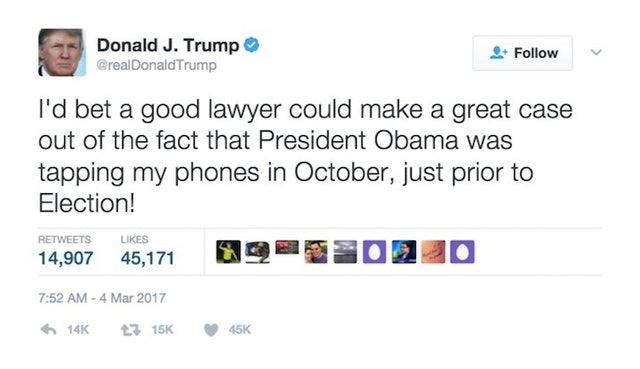 Trump Says Obama Wire-Tapped His Phones During Election