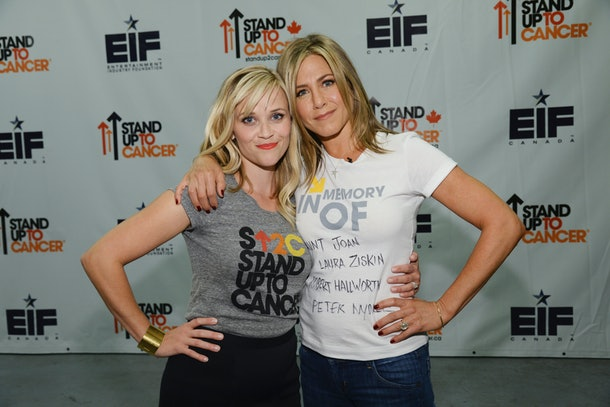 Jennifer Aniston and Reese Witherspoon at Stand Up To Cancer.