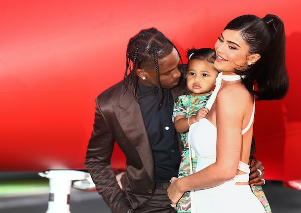 travis scott, kylie jenner, stormi on the red carpet at look mom i can fly premiere