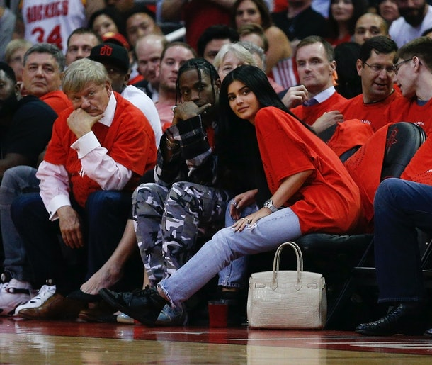 Kylie Jenner and Travis Scott at Houston Rockets game April 2017