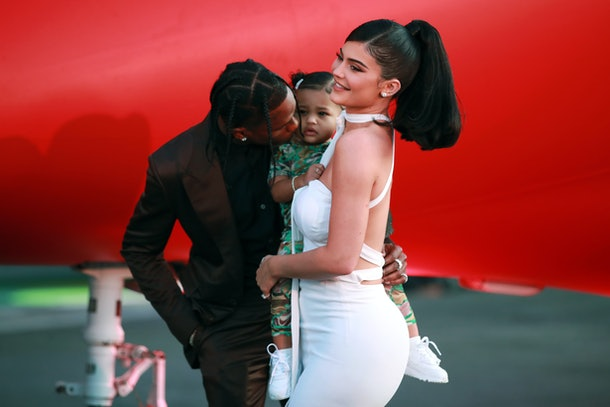 Travis Scott, Kylie Jenner and Stormi at the Look Mom I Can Fly red carpet premiere
