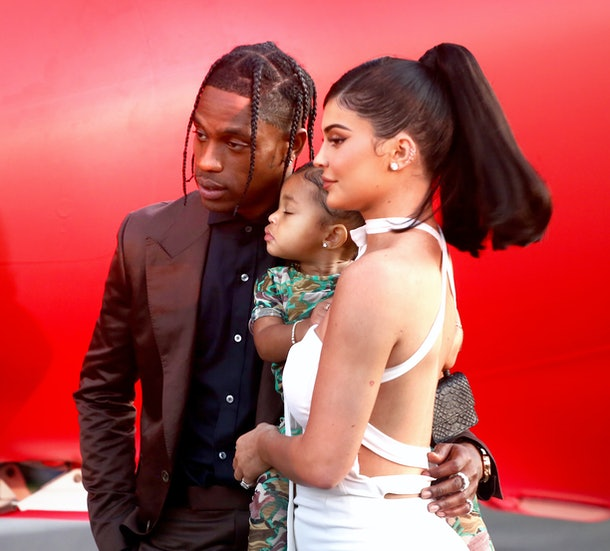 travis scott, kylie jenner, stormi at the Look Mom I Can Fly premiere