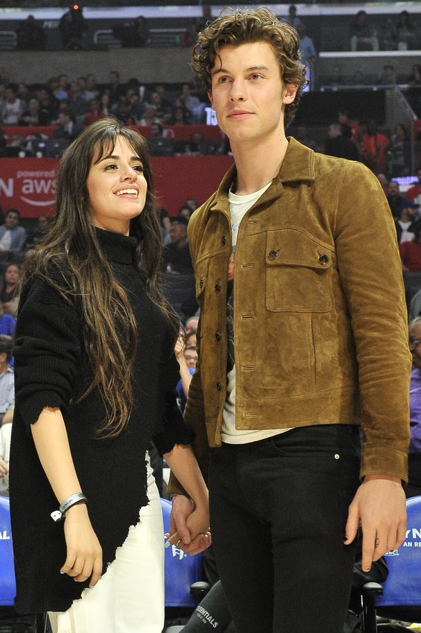 Camila Cabello and Shawn Mendes attend a Clippers game on Nov. 11.