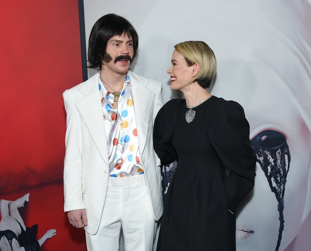 Sarah Paulson and Evan Peters, both not in Season 9 of American Horror Story but in talks to be reunited for Season 10, on a red carpet together.