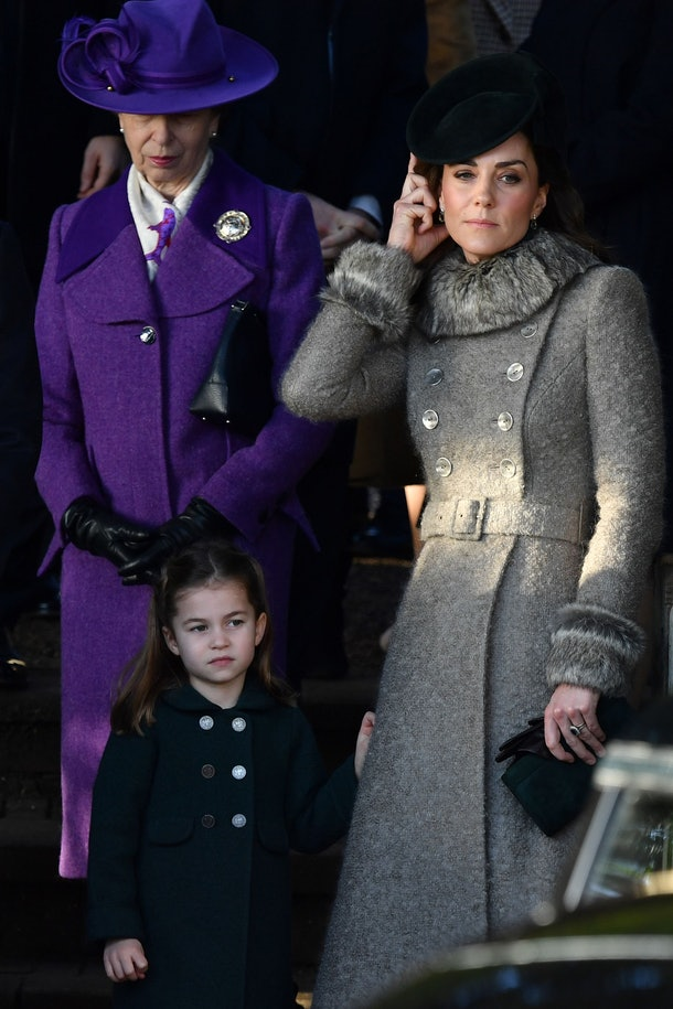 Princess Charlotte matched with mom Kate Middleton during her royal Christmas debut.