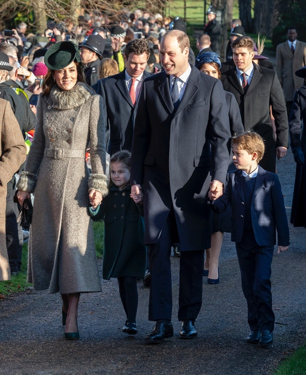 Prince George and Princess Charlotte held hands with their parents while walking towards the church.