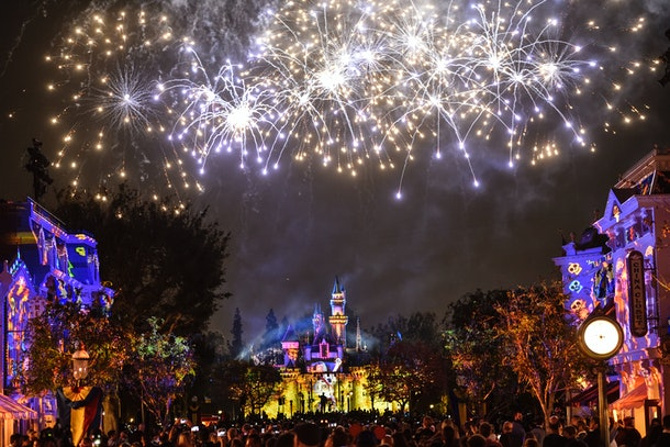 Disneyland's fireworks show soars into the sky over Sleeping Beauty's Castle on New Year's Eve.