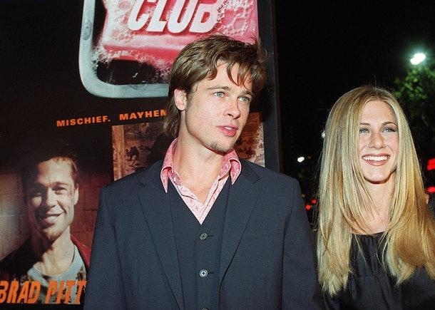 Brad Pitt and Jennifer Aniston attend the Fight Club premiere.
