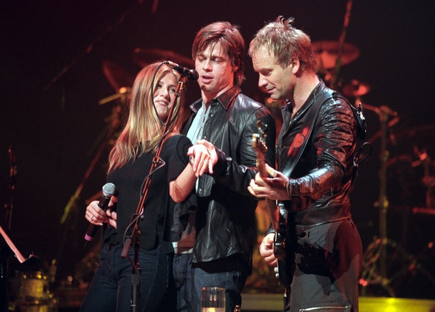 Brad Pitt and Jennifer Aniston at sting concert after engagement