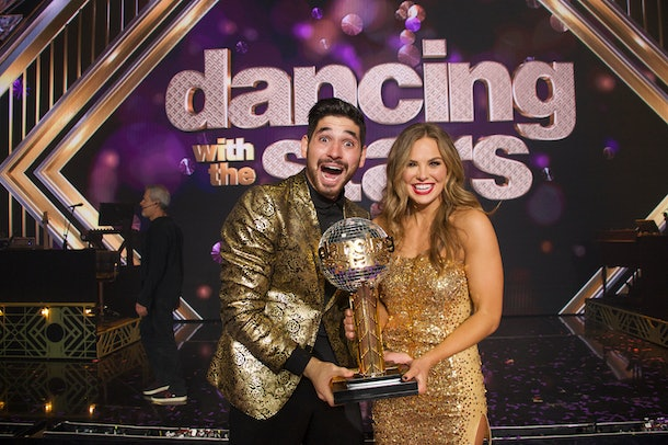Former Bachelorette Hannah Brown won this season of 'DWTS'. She is pictured with her dancing partner, Alan Bersten.