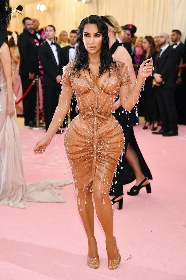 Kim Kardashian Wears Sparkly, See-Through Glad Wrap Dress