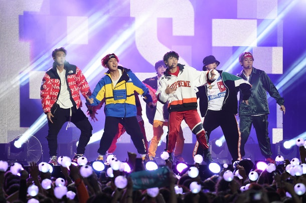 BTS perform live in concert.