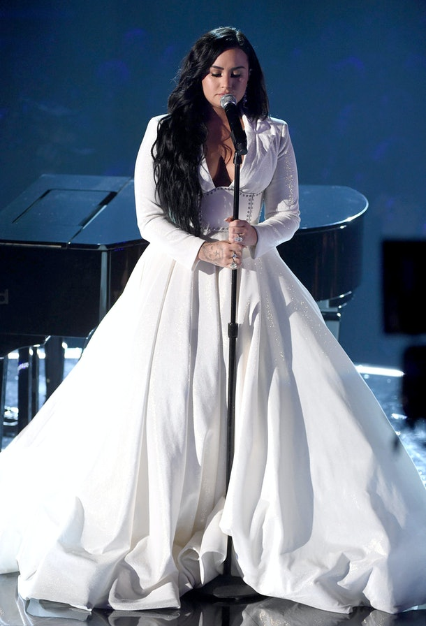 demi lovato s 2020 grammys dress shined as bright as her emotional performance demi lovato s 2020 grammys dress shined
