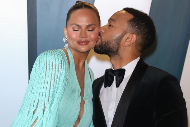 Chrissy Teigen and John Legend attend the Vanity Fair Oscars Party.