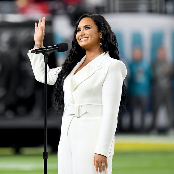 Demi Lovato performs the National Anthem.