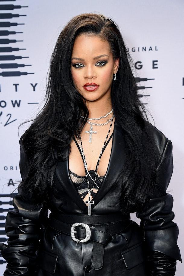 Rihanna arrives to her Fenty lingerie fashion show.