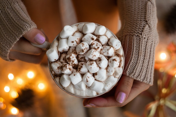 A woman's hands hold up a big mug of hot chocolate with marshmallows.