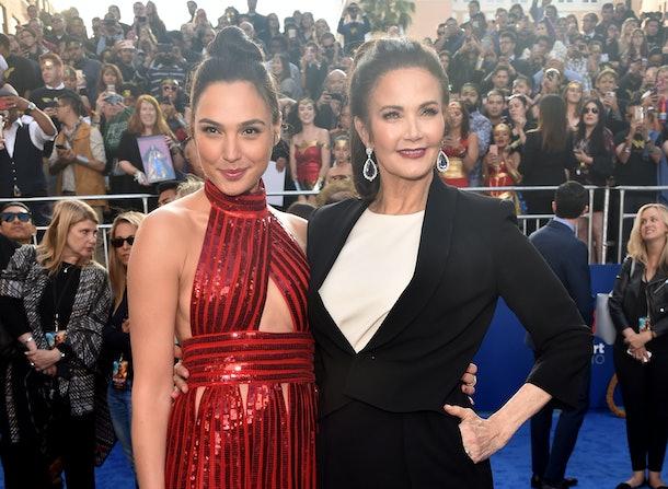Wonder Woman actors Gal Gadot and Lynda Carter pose together.