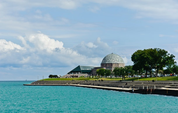 The Adler Planetarium in Chicago, Illinois sits right on the waters of Lake Michigan.