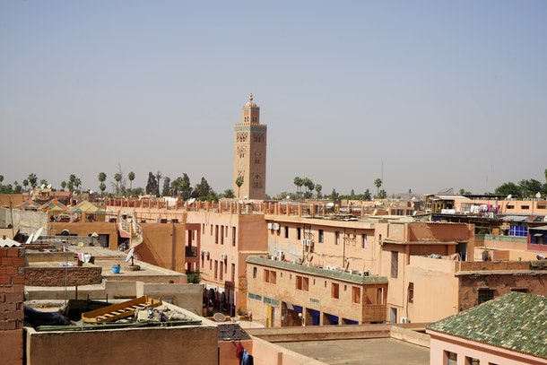 The city of Marrakesh is filled with sand-colored buildings.