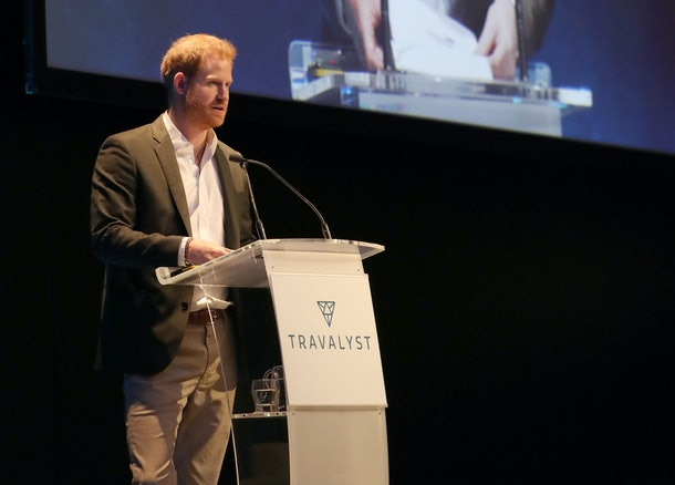 Prince Harry speaks at an event for Travalyst.