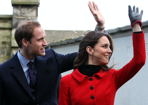 Prince William and Kate Middleton wave to fans.