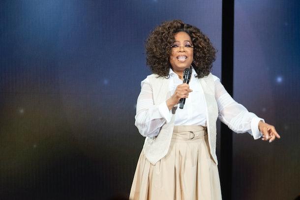 Oprah Winfrey speaks at a live event.