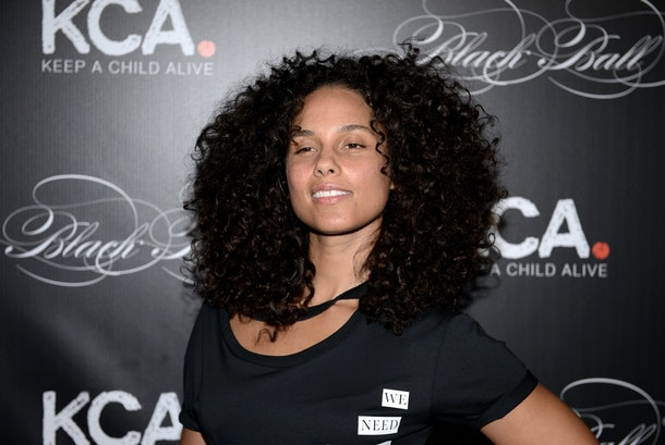 Alicia Keys attends an event for her foundation, Keep A Child Alive.