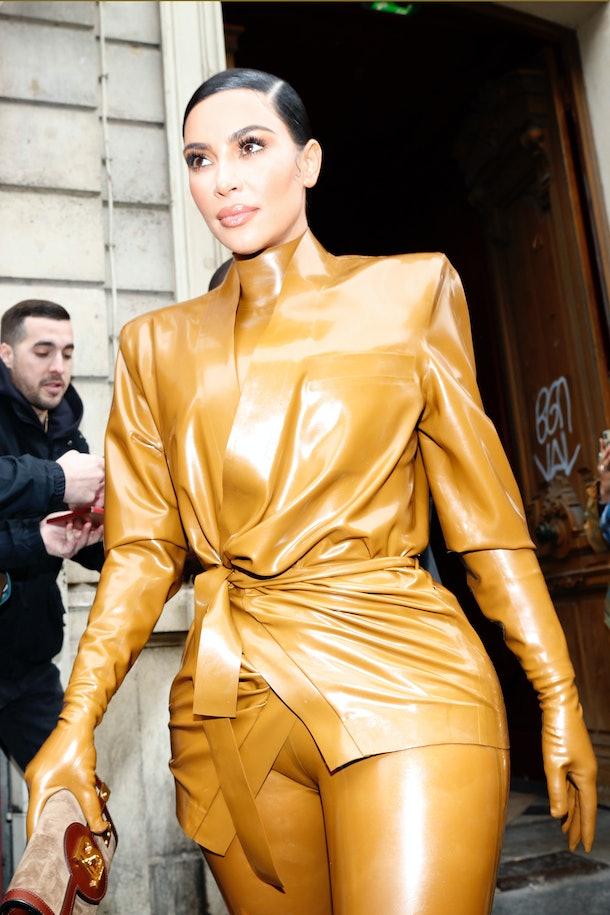 Kim Kardashian attends Kanye West's church service in Paris.