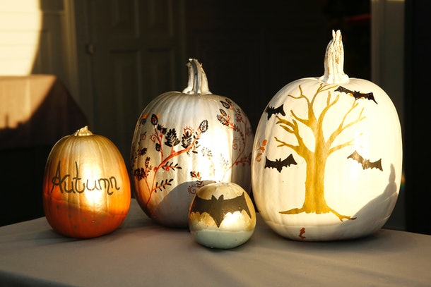 Painted pumpkins sit on a table while the sun shines on them.