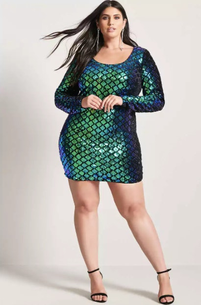 7e8f36dab76 Mini Dresses 4L. Courtesy Forever21. Plus Size Cutout Sequin Mini Dress ...