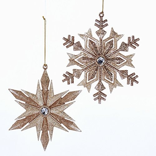 kurt adler 2 rose gold snowflake christmas ornaments - Grinch Christmas Decorations Amazon
