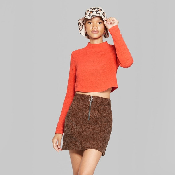 Wild Fable Women s Cropped Mock Neck Pullover In Orange ( 20  target.com) a389f5d7b