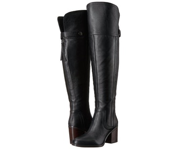 6c19aa33f59 4A Pair Of Over-The-Knee Boots With A Stacked Heel