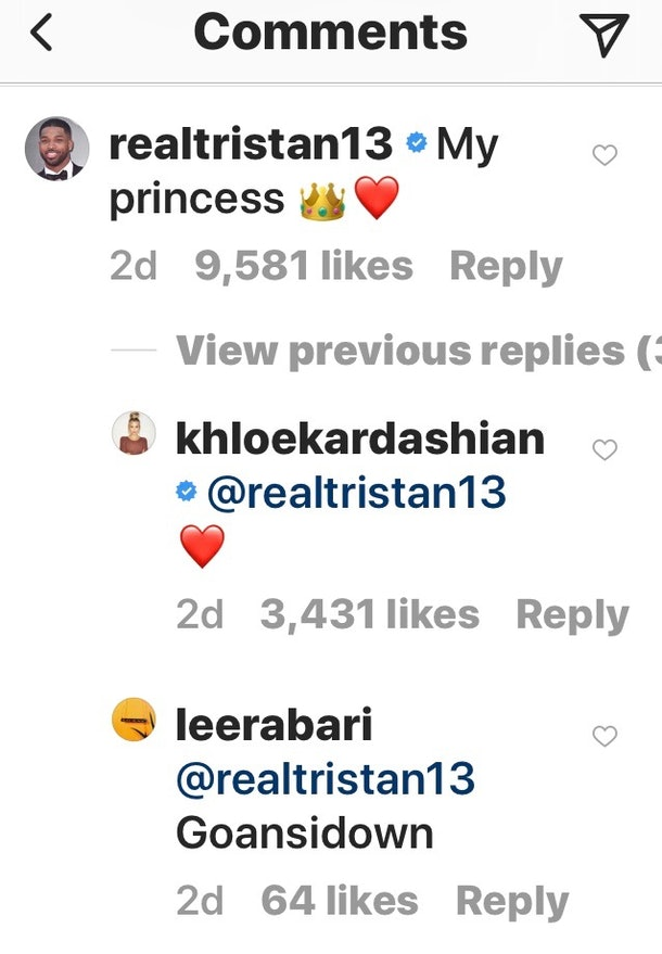 Tristan Thompson's Comment On Khloe Kardashian's Photo Of ...