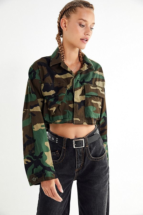 Urban Renewal Remade Cropped Vintage Camo Jacket