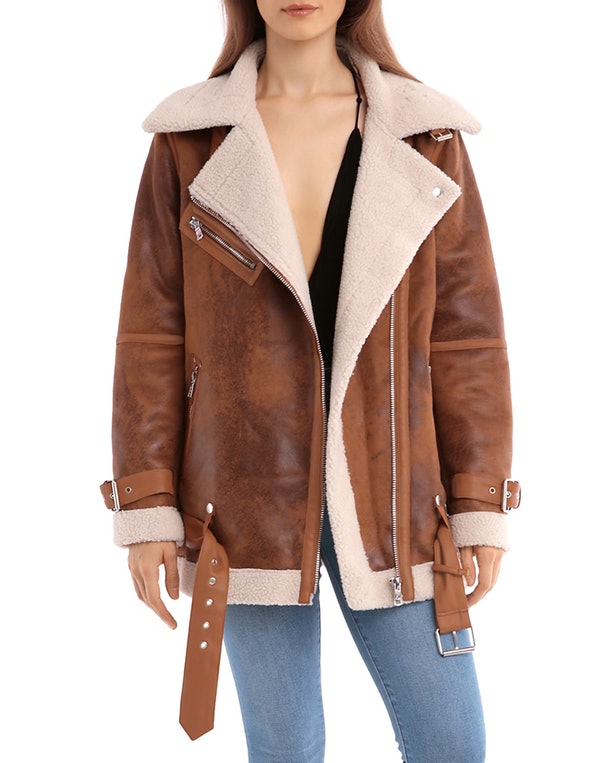 Oversized Faux Shearling Moto Jacket in Whiskey