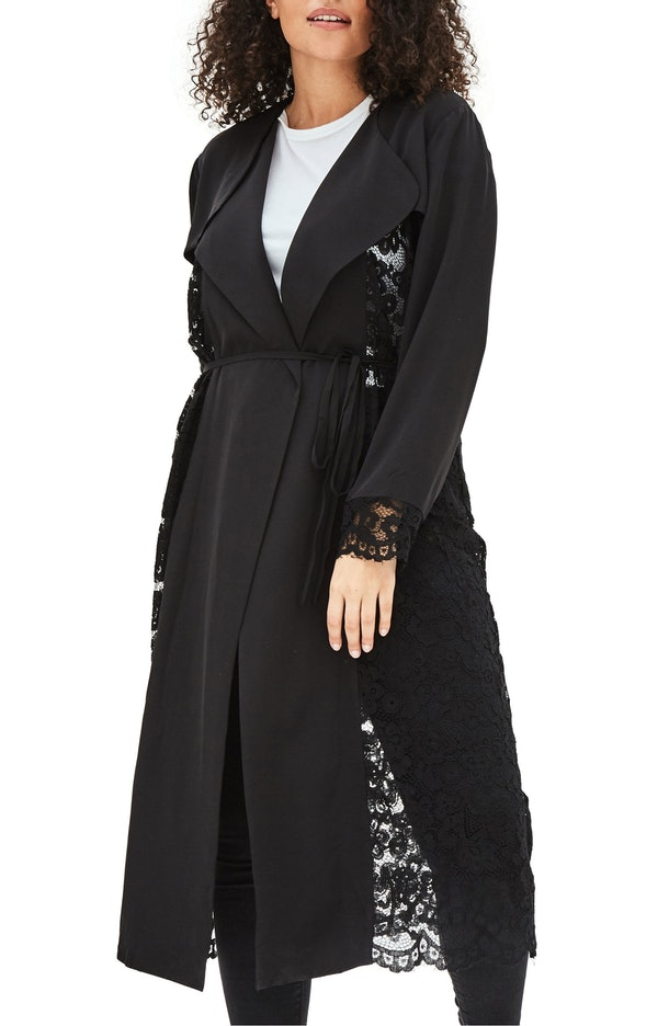 The Syrin Lace Back Trench Coat