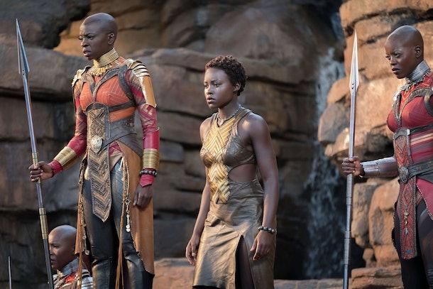 Danai Gurira and Lupita Nyong'o in Black Panther