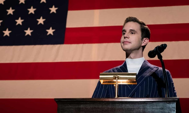 Payton Hobart giving speech in 'The Politician'