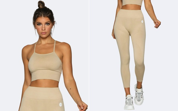 This tan bra and pant workout set is a great comfy plane outfit for fall.