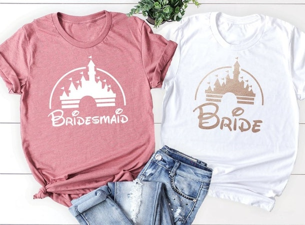 Bride and bridesmaid shirts are a must for anyone wondering how to plan a bachelorette at Disney.