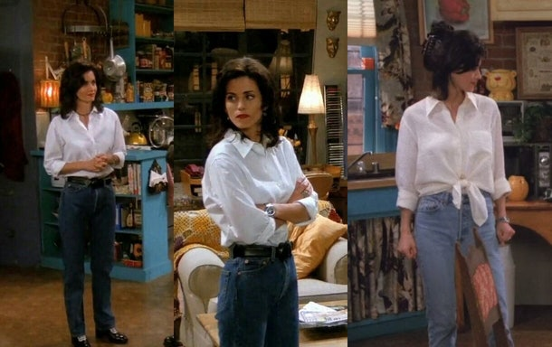 Monica's white shirts and jeans are a great Friends Halloween costume idea